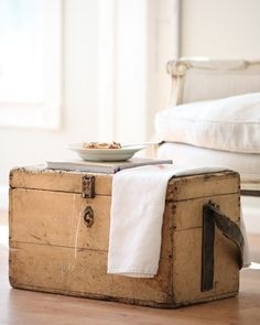 ~ French antique wooden chest, ideal to use as a coffee table. Distressed Furniture Painting, Painted Furniture, Modern Furniture, Vintage Trunks, Vintage Suitcases, Vintage Chest, Verona, Wooden Chest, Wooden Trunks