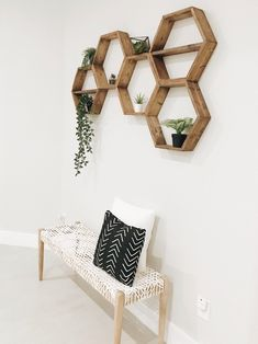 The hexagons shown in the photos above are 18 with interior shelves stained in Early American. If you would like interior shelves, please leave me a Note To The Seller and I will throw those in for free! These six sided hexagon shelves will attr Shelf Above Bed, Bed Shelves, Hanging Shelves, Shelf Wall, Above Bed Decor, Shelving Above Bed, Unique Wall Shelves, Art Above Bed, Shelf Hooks