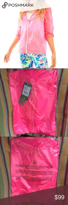 Lilly Pulitzer  IRINA WINDBREAKER NWT The Irina Windbreaker is a swing windbreaker with a hood. This lightweight nylon piece is perfect for a windy beach morning. Swing Windbreaker With Hood, Dropped Shoulder, Front Welt Pockets, And Center Front Zipper. Tissue Nylon (100% Nylon). Machine Wash Cold. Separately. Delicate Cycle. Brand new never worn Lilly Pulitzer Jackets & Coats
