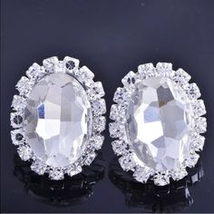 Pretty Large White Gold Filled CZ Crystal Earrings Brand New #E056 Jewelry Earrings