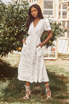 Wedding Rehearsal Dress, Rehearsal Dinner Outfits, White Midi Dress, Lace Dress, Engagement Party Dresses, Wedding Dresses, Button Up Dress, White Bridal, White Lace