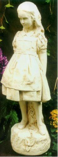 Caroler boy girl with lamp post christmas garden statues - Alice in wonderland garden statues ...