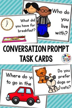 Have your students work on and improve their conversational skills with these prompt task cards. Social Skills Activities, Speech Therapy Activities, Language Activities, Hands On Activities, Literacy Activities, Teaching Resources, Communication Activities, Autism Classroom, Special Education Classroom
