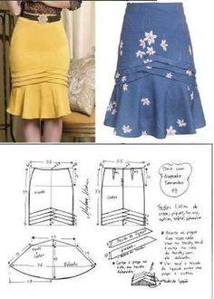 Resultado de imagem para como fazer saia com folho gode assimétrico