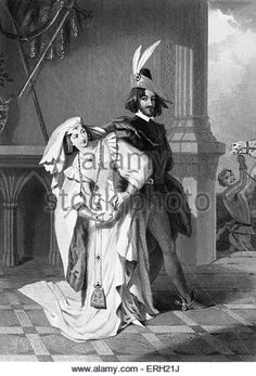 Henry IV, Part 1, (Act II Scene 3), play by William Shakespeare. Hotspur and Lady Percy. 'Lady Percy: answer - Stock Image