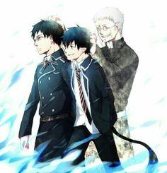 Rin, Yukio, Okumura twins, brothers, Shiro, father, family, ghost, spirit, sad, blue flames, flames of Satan; Blue Exorcist