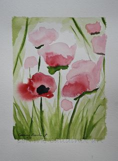 Painting of pink spring poppies watercolor art 5x7 green pink black flowers Mothers Day gift. $38.00, via Etsy.