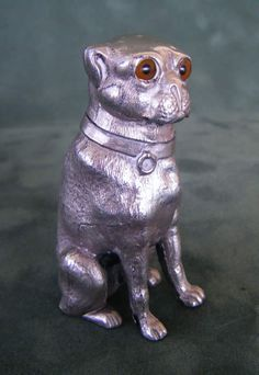 A lovely and rare antique   pounce pot (to contain powder  for blotting ink) in form of a pug, c. 1860