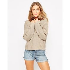 ASOS Ultimate Chunky Sweater (840 UAH) ❤ liked on Polyvore featuring tops, sweaters, oatmeal, pink crew neck sweater, asos, pink sweater, drop shoulder sweater and relaxed fit tops