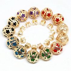 Cute candy 6 colors double side stud earring for women high quality crystal rhinestone frosted matte gold-color jewelry B1663