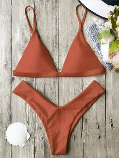 SHARE & Get it FREE | Soft Pad Spaghetti Straps Thong Bikini Set - Burnt OrangeFor Fashion Lovers only:80,000+ Items • New Arrivals Daily Join Zaful: Get YOUR $50 NOW!