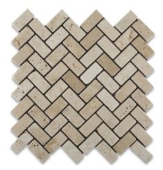 Ivory Travertine Tumbled 1 X 2 Herringbone Mosaic Tile