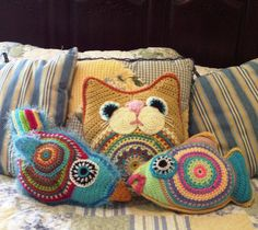 PAID Three Pattern Special Fat Cat,Tilly Fish, and Tropical Bird Crochet Instant… Crochet Home Decor, Crochet Crafts, Crochet Toys, Crochet Projects, Crochet Fish, Freeform Crochet, Crochet Animals, Crochet Cushions, Crochet Pillow