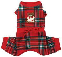 When the weather gets chilly, what better way to stay warm than in the  Ruff Ruff Couture® Lil Teddy Snuggle Suit. Featuring snuggly soft red  plaid velour, a drawstring waist and an adorable custom teddy bear, your  little pooch will be so cozy, hell never want to take it off  Proudly  made in the U.S.A.