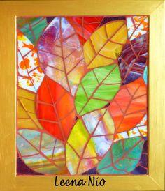 Colorful leaves, in glass. Leena Nio.