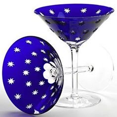 a pair of cobalt Faberge Galaxy Crystal Martini Glasses