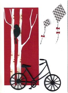 Memory box dies, tall birch, brand new bicycle, bird and kites. Homemade Greeting Cards, Hand Made Greeting Cards, Making Greeting Cards, Homemade Cards, Making Cards, Memory Box Cards, Memory Box Dies, Fancy Fold Cards, Folded Cards