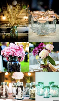 Mason jar wedding centerpieces. Rustic filler ideas may include flowers, wheat, or candles.