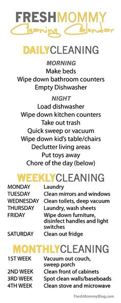 Housework and Cleaning Schedule For the Home Pinterest - housework schedule