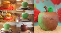 Here's my take on the apple shaped cake!  It's the same cake, but lit differently & turned so that more green is showing.