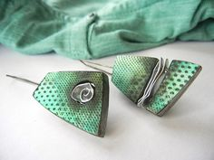 """Spring"" - polymer clay and metal earrings by Sonya Girodon."