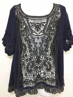 Free People Womens M Navy Blue Black Boho Lacy Cut-Out Pullover Sweater Tunic  #FreePeople #Tunic #Casual