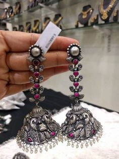 Beautiful Long Jhumkas/Earrings in Silver Oxidised with Ruby Stones & Pearls -Traditional and Temple Indian Jewelry for Weddings,Brides Indian Jewelry Earrings, Jewelry Design Earrings, Silver Jewellery Indian, Silver Necklaces, Silver Jewelry, Jhumkas Earrings, Silver Ring, Silver Earrings, 925 Silver