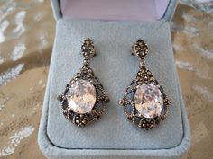 Vintage Earrings 925 Sterling Silver, Marcasite and CZ, Pierced Earrings by JanesVintageJewels on Etsy