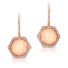 Anne Sisteron  14KT Rose Gold Opal Diamond Hexagon Wireback Earrings ($1,025) ❤ liked on Polyvore featuring jewelry, earrings, rose, rose jewellery, diamond earring jewelry, hexagon earrings, rose jewelry and rose gold jewelry