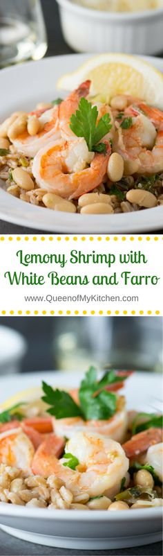 Lemony Shrimp with White Beans and Farro - A light, healthy, and delicious meal that's a great alternative to shrimp scampi. Packed with protein and fiber!   QueenofMyKitchen.com