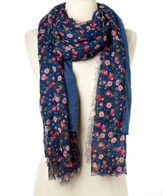 Another great find on #zulily! Navy & Pink Floral Fringe Scarf #zulilyfinds