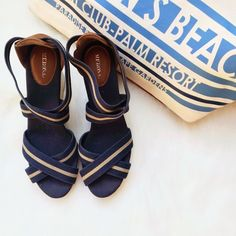 """NEWSummer Wedges These super cute summer cork bottom wedges are tan, blue and cognac. They're in excellent condition! I wore them once with tan shorts and a striped light blue and white collared shirt with the sleeves rolled up. The heels are 4"""" high. Merona Shoes"""