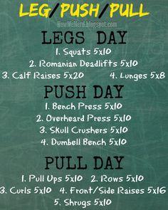 We Nerd: Weight Training Pinnable: Legs, Push, Pull days.How We Nerd: Weight Training Pinnable: Legs, Push, Pull days. Push Pull Workout Routine, Push Pull Legs Workout, Push Workout, Workout Splits, Aerobics Workout, Gym Routine, Workout Schedule, Workout Routines, Workout Ideas