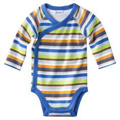 target: ZUTANOBLUE Newborn Boys Stripe Bodysuit - Blue/Brown.Opens in a new window