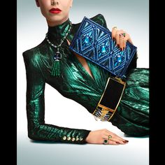 clutch and belt, Balmain ~ Necklace and rings (top and bottom right), Bulgari ~ Ring (bottom left), Van Cleef & Arpels