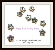8x2mm Antiqued Silver Pewter Star Bead Caps by StacyJewelrySupply, $2.74