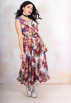 Vintage 90s Floral Boho Midi Dress