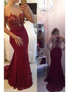 Applique Lace Mermaid Long  Prom Dress Evening Dresses #promdresses #SIMIBridal