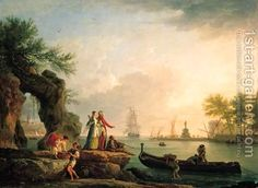 A Mediterranean port at sunset with a Levantine couple on an outcrop and fishermen unloading their catch Claude-joseph Vernet | Oil Painting...