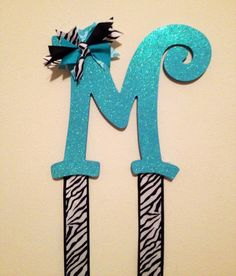 Initial Letter Bow Holder  zebra gift accessory by AlongCameAParty, $22.00