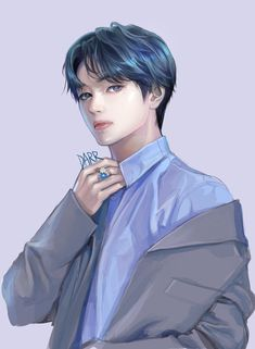 Korean Anime, Korean Art, Handsome Anime Guys, Cute Anime Guys, K Pop, V Chibi, Bts Anime, Yoonmin Fanart, Taehyung Fanart