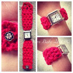 Wrist watch, crochet band, adjustable size