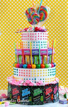 This is the easiest 4 tier birthday cake you will ever make. Create a colorful and fun No Bake Candy Birthday Cake for your next celebration.