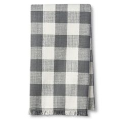 • Soft and durable fabric<br>• Beautiful texture<br>• Neutral hues<br>• Fringe detailing<br><br>Threshold's Woven Gray Plaid Kitchen Towel lends laid-back flair to your kitchen. Its fringed hems create a casual feel while gray plaid keeps the look modern. Give you space a quick style update with this tea towel.