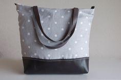 COOL Grey Leather Tote Bag  Light Grey Linen Polka by dawnaparis, €55.00
