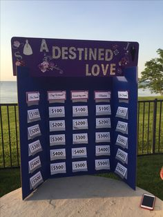 DIY jeopardy board for wedding engagement party purple blue board.