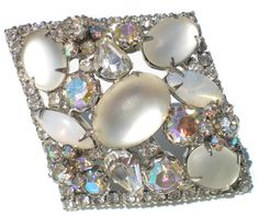 Frosted White Glass Brooch with Aurora Borealis Rhinestones in Diamond Shape on Silver Tone Signed Kramer - Vintage Jewelry