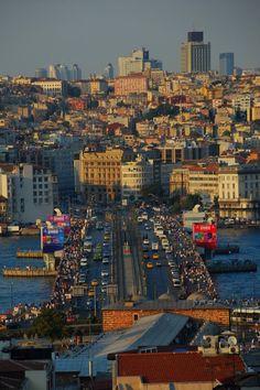 Galata Bridge Istanbul - İstanbul City - Crowd in a city
