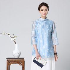 Pretty Butterflies Chiffon Qipao Cheongsam Blouse - Chinese Shirts & Blouses - Women