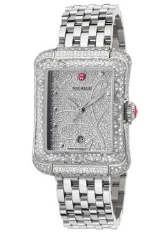 Michele  Women's Ltd Ed Extreme Butterfly Diamond SS Pave Dial and Case